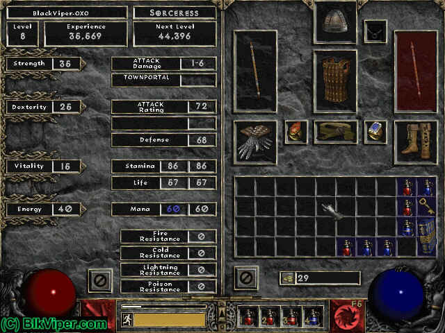 Diablo 2 Character: BlackViper-OXO - Level 8