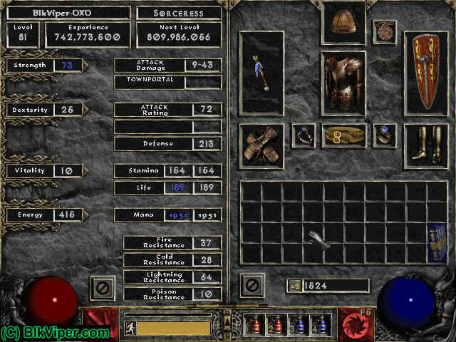 Diablo 2 Character: BlkViper-OXO - Level 81
