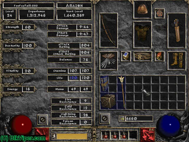 Diablo 2 Character: FooFeeTail-OXO - Level 24