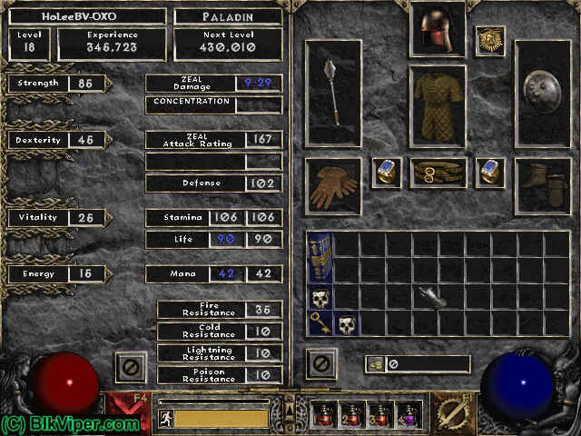 Diablo 2 Character: HoLeeBV-OXO - Level 18