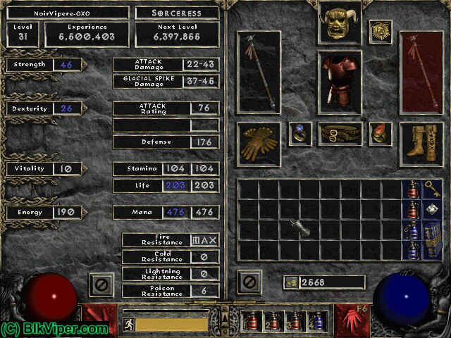 Diablo 2 Character: NoirVipere-OXO - Level 31
