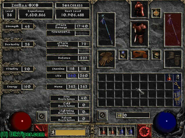 Diablo 2 Character: ZeeMaa-OXO - Level 35