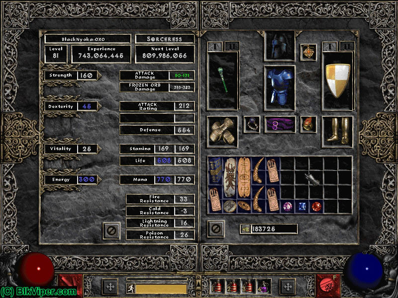 Diablo 2 LOD Character: BlackNyoka-OXO - Level 81