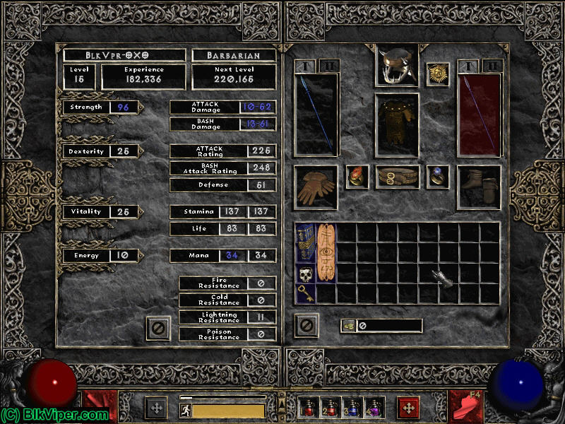 Diablo 2 LOD Character: BlkVpr-OXO - Level 15