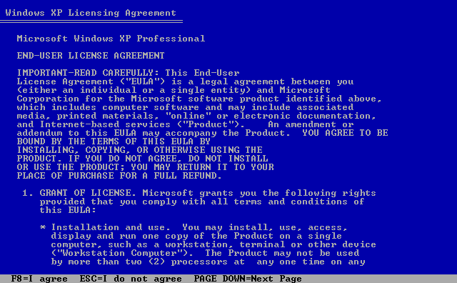3) Windows XP Licensing Agreement: (Image 1.3)