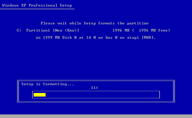 11) Setup formats the partition: (Image 1.11)
