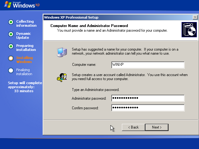 22) Enter a Computer name and an Administrator Password: (Image 2.7)