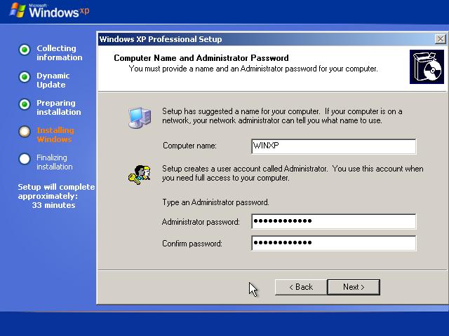 windows xp admin password default