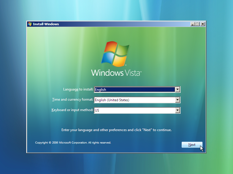 3) Option Selections: (Windows Vista Install Guide Image 1.3)
