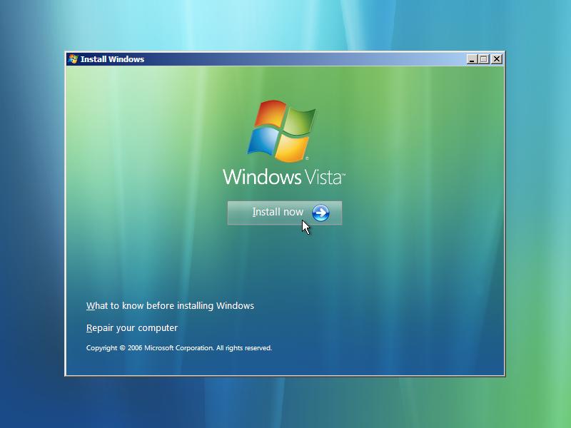 4) Install Now: (Windows Vista Install Guide Image 1.4)