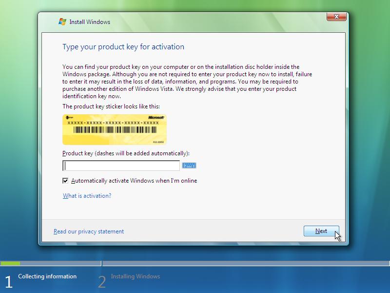 6) Product Key: (Windows Vista Install Guide Image 2.1)