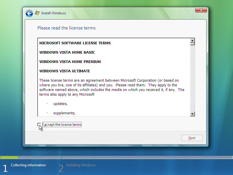 7) License Agreement: (Windows Vista Install Guide Image 2.2)