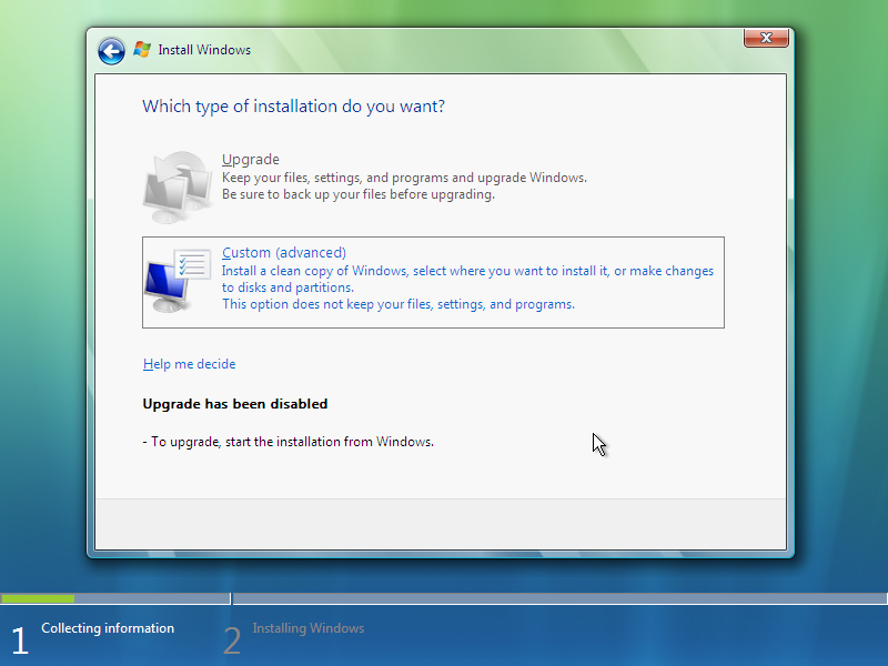 8) Option Selections: (Windows Vista Install Guide Image 2.3)