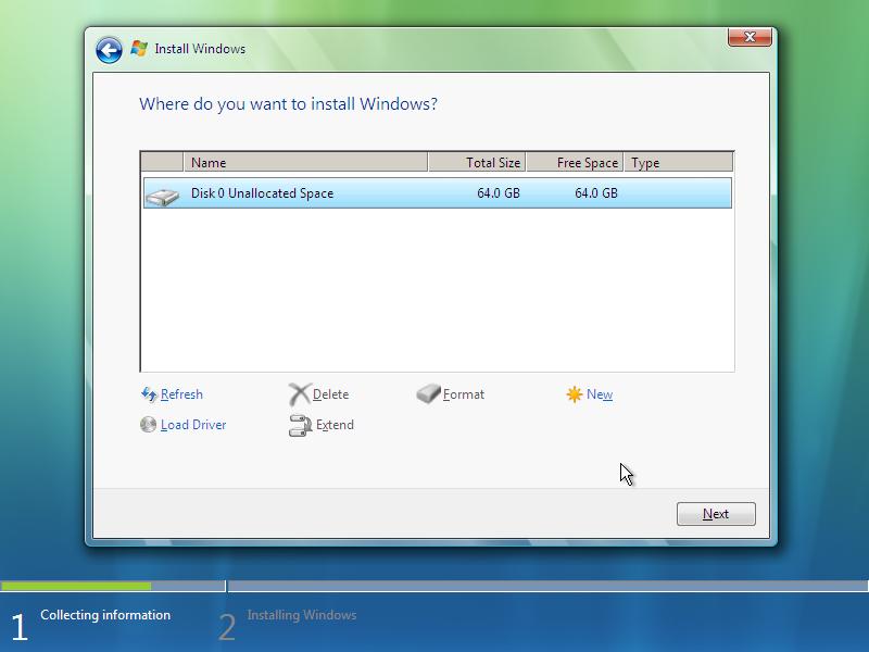 10) Advanced Options: (Windows Vista Install Guide Image 2.5)
