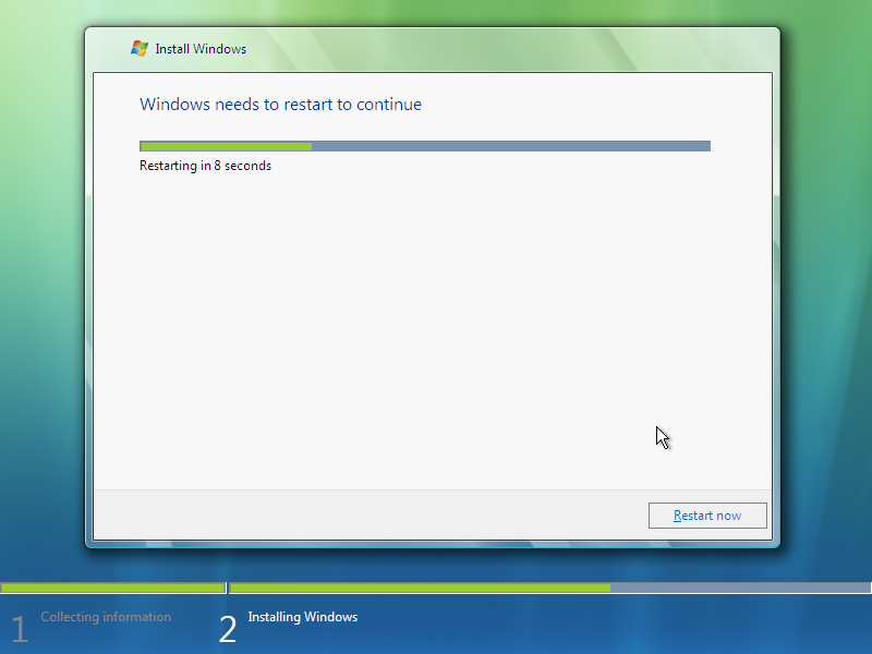 12) Reboot: (Windows Vista Install Guide Image 3.2)