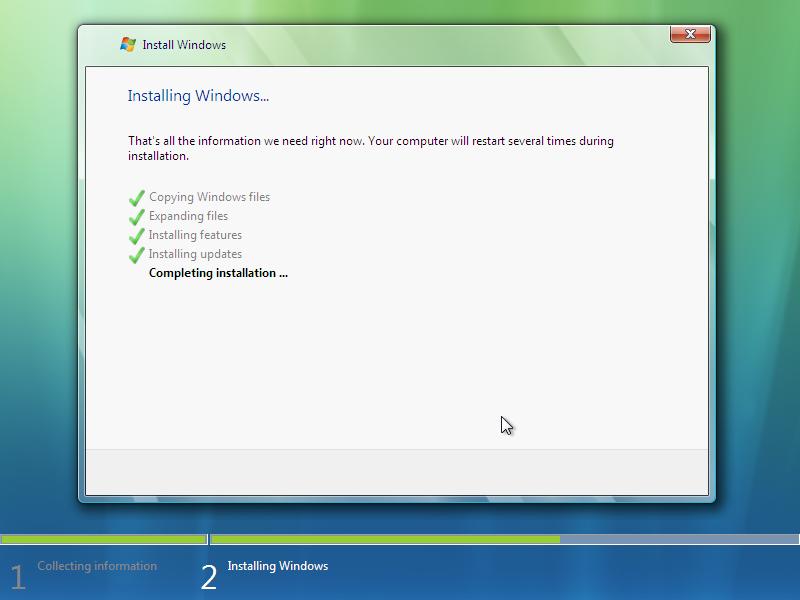 14) Completing Installation: (Windows Vista Install Guide Image 3.4)