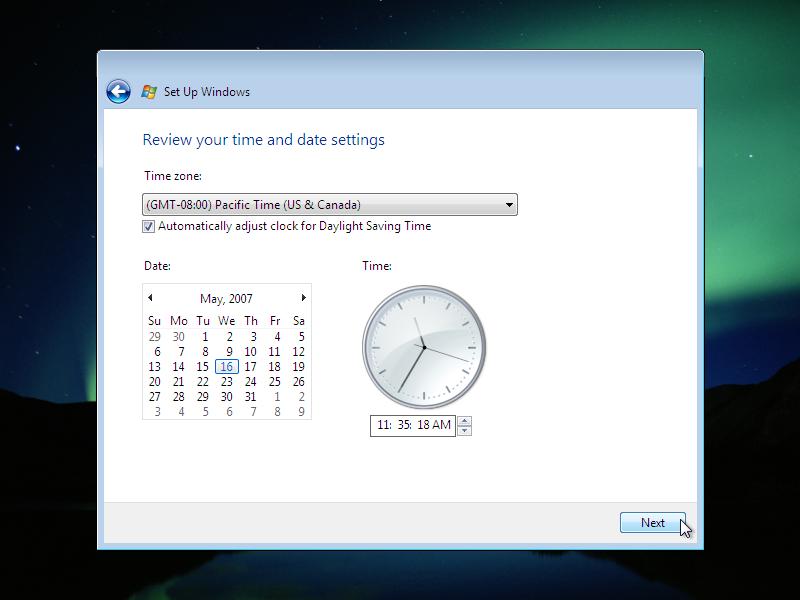 18) Time Settings: (Windows Vista Install Guide Image 4.3)