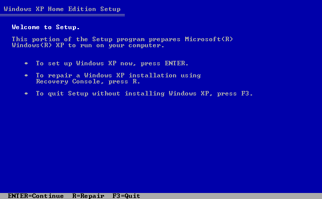 2) Welcome to Setup: (Windows XP Home Install Guide Image 1.2)
