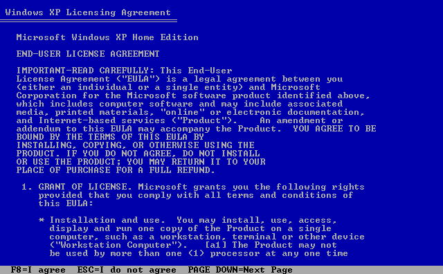 3) Windows XP Licensing Agreement: (Windows XP Home Install Guide Image 1.3)