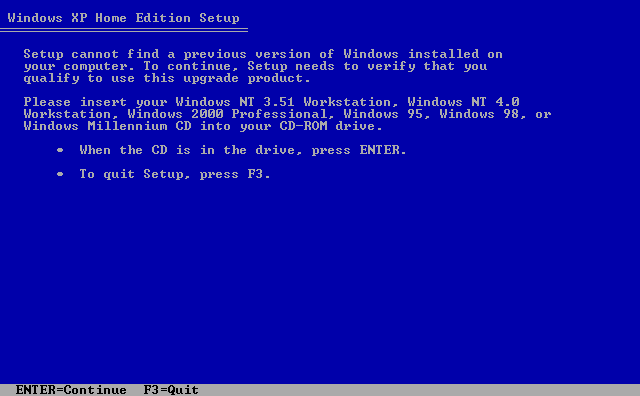 4) Insert the previous version. (Windows XP Home Install Guide Image 1.4)