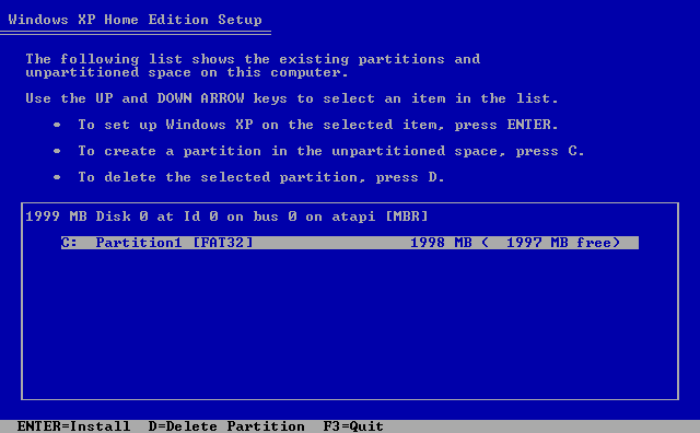 5) Hard drive partition information: (Windows XP Home Install Guide Image 1.5)