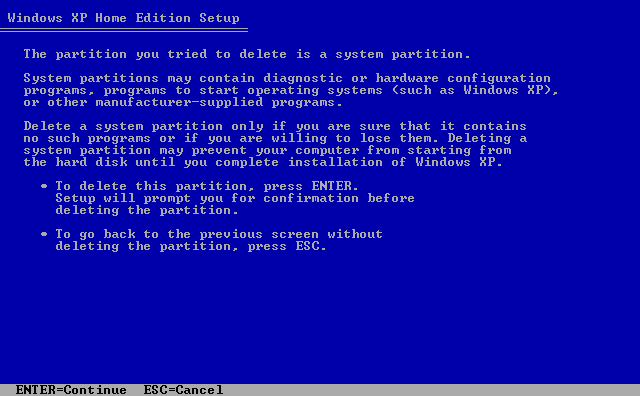 6) Warning screen: (Windows XP Home Install Guide Image 1.6)