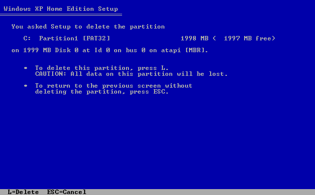 7) Confirmation screen: (Windows XP Home Install Guide Image 1.7)