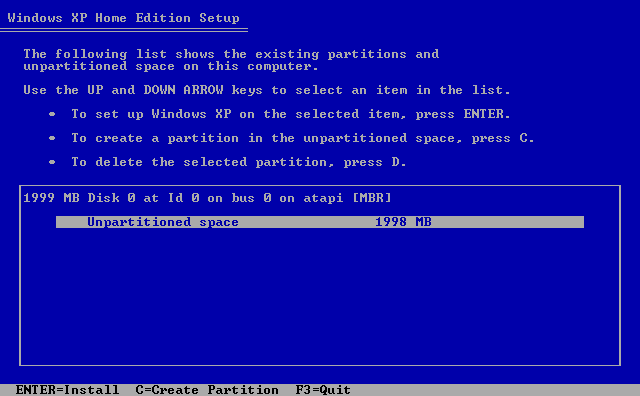 8) No partitions have been previously defined: (Windows XP Home Install Guide Image 1.8)