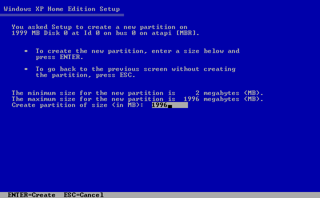 9) Enter in the partition size: (Windows XP Home Install Guide Image 1.9)