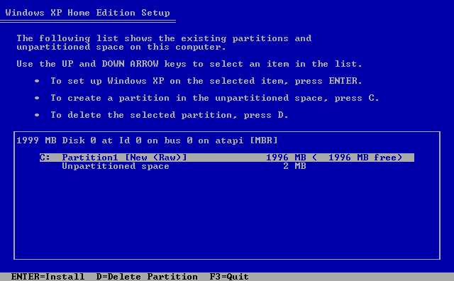 10) Continue to create partitions: (Windows XP Home Install Guide Image 1.10)