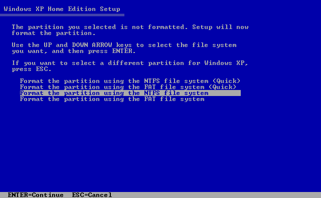 11) Format the partition: (Windows XP Home Install Guide Image 1.11)
