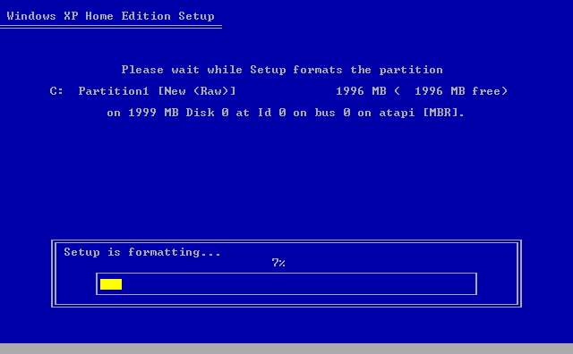 12) Setup formats the partition: (Windows XP Home Install Guide Image 1.12)