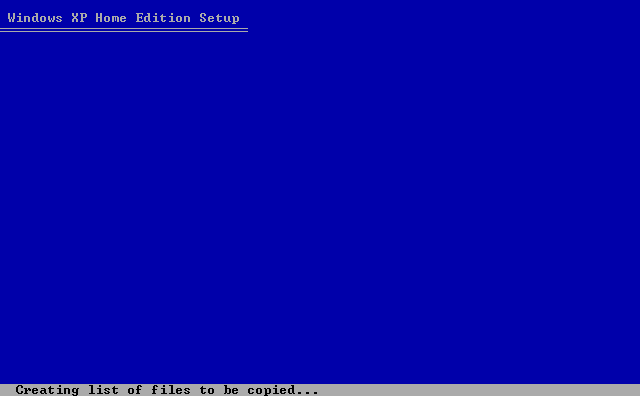13) Creating File List: (Windows XP Home Install Guide Image 1.13)