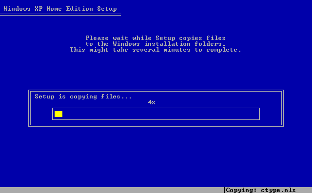 14) Setup copies various files: (Windows XP Home Install Guide Image 1.14)