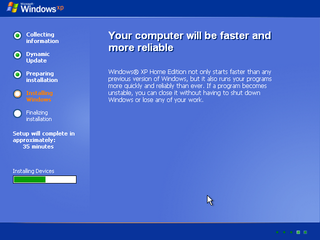 19) Faster and more reliable: (Windows XP Home Install Guide Image 2.3)
