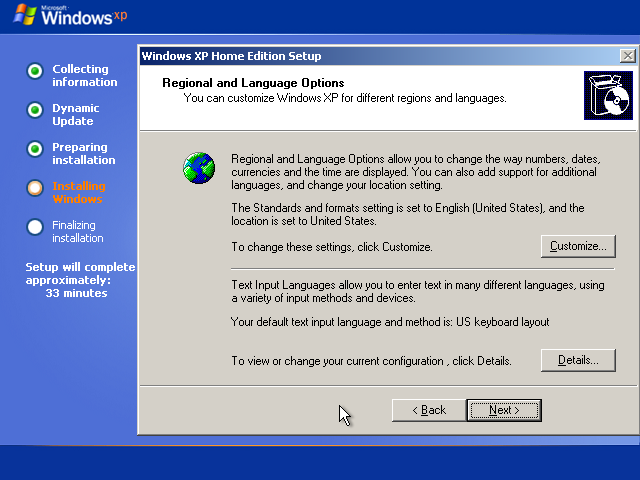 20) Region and Input Languages: (Windows XP Home Install Guide Image 2.4)