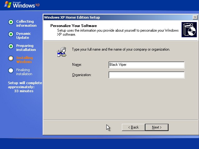 21) Enter in your Name: (Windows XP Home Install Guide Image 2.5)