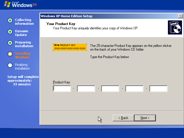 22) 25 digit Product Key: (Windows XP Home Install Guide Image 2.6)