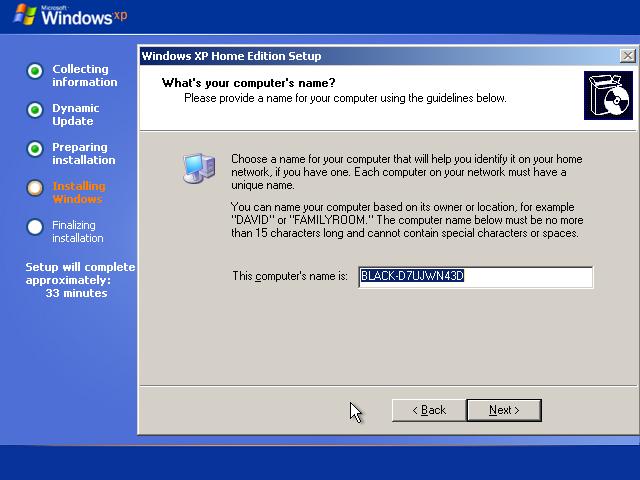23) Enter a Computer name: (Windows XP Home Install Guide Image 2.7)