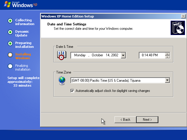 24) Date, Time and Time Zone: (Windows XP Home Install Guide Image 2.8)