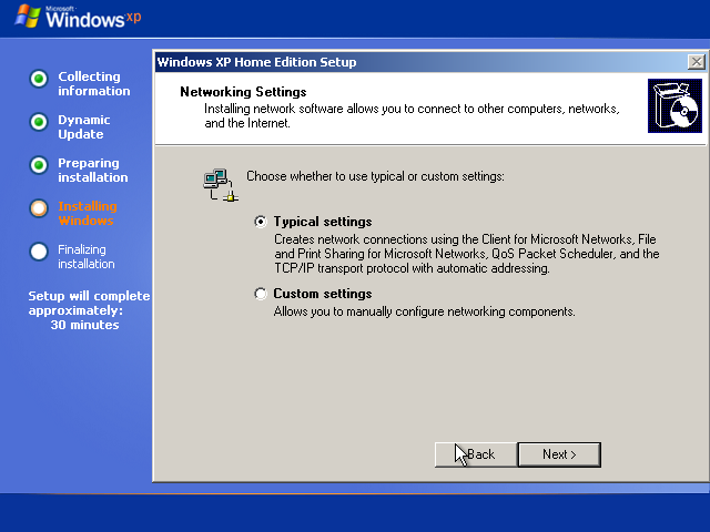 25) Network Settings Dialog: (Windows XP Home Install Guide Image 3.1)