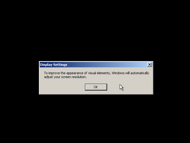 26) Display Settings Pop-up: (Windows XP Home Install Guide Image 3.2)