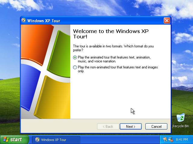 31) Windows XP Tour dialog: (Windows XP Home Install Guide Image 4.2)